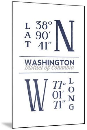 Washington D.C. - Latitude and Longitude (Blue)-Lantern Press-Mounted Art Print