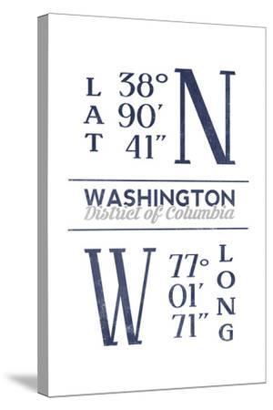 Washington D.C. - Latitude and Longitude (Blue)-Lantern Press-Stretched Canvas Print