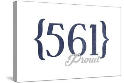 West Palm Beach, Florida - 561 Area Code (Blue)-Lantern Press-Stretched Canvas Print