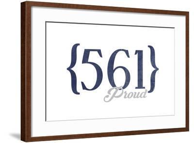 West Palm Beach, Florida - 561 Area Code (Blue)-Lantern Press-Framed Art Print
