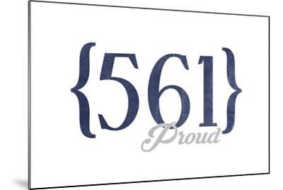 West Palm Beach, Florida - 561 Area Code (Blue)-Lantern Press-Mounted Art Print