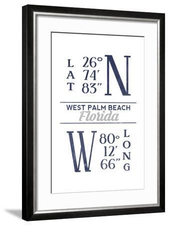 West Palm Beach, Florida - Latitude and Longitude (Blue)-Lantern Press-Framed Art Print