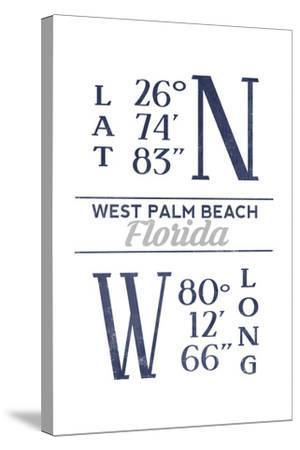 West Palm Beach, Florida - Latitude and Longitude (Blue)-Lantern Press-Stretched Canvas Print