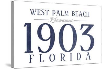 West Palm Beach, Florida - Established Date (Blue)-Lantern Press-Stretched Canvas Print