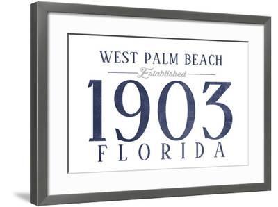 West Palm Beach, Florida - Established Date (Blue)-Lantern Press-Framed Art Print