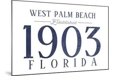West Palm Beach, Florida - Established Date (Blue)-Lantern Press-Mounted Art Print