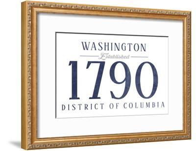 Washington D.C. - Established Date (Blue)-Lantern Press-Framed Art Print