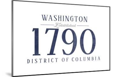 Washington D.C. - Established Date (Blue)-Lantern Press-Mounted Art Print