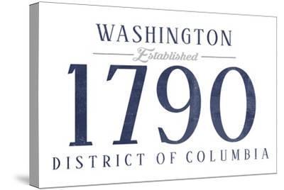 Washington D.C. - Established Date (Blue)-Lantern Press-Stretched Canvas Print
