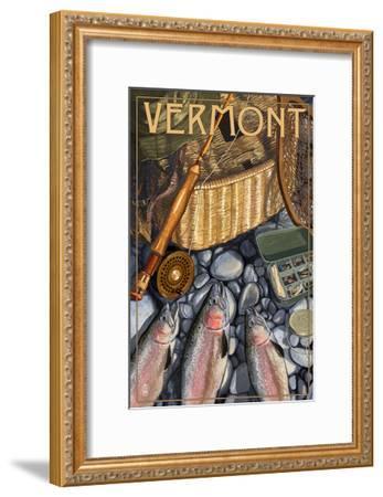 Vermont - Fishing Still Life-Lantern Press-Framed Art Print