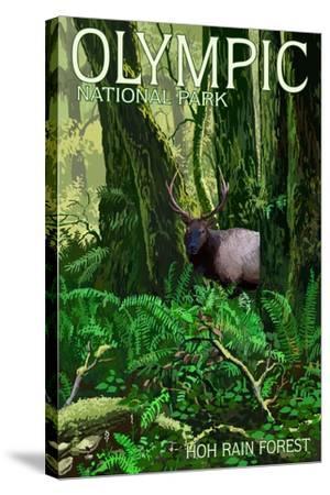 Olympic National Park, Washington - Hoh Rain Forest-Lantern Press-Stretched Canvas Print
