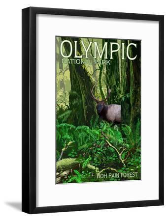 Olympic National Park, Washington - Hoh Rain Forest-Lantern Press-Framed Art Print