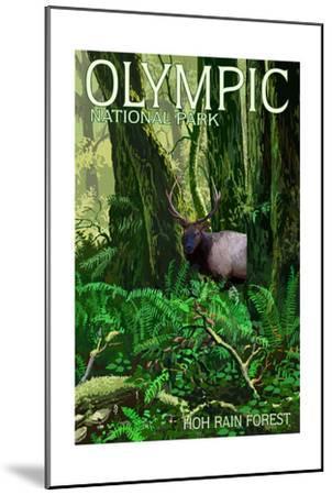 Olympic National Park, Washington - Hoh Rain Forest-Lantern Press-Mounted Art Print