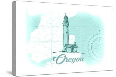 Oregon - Lighthouse - Teal - Coastal Icon-Lantern Press-Stretched Canvas Print