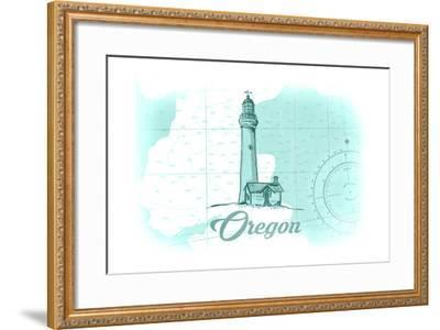 Oregon - Lighthouse - Teal - Coastal Icon-Lantern Press-Framed Art Print