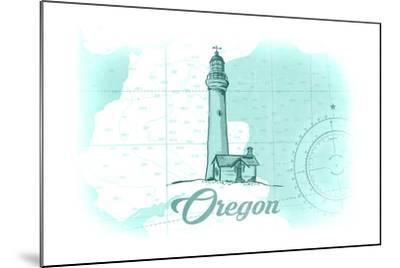 Oregon - Lighthouse - Teal - Coastal Icon-Lantern Press-Mounted Art Print