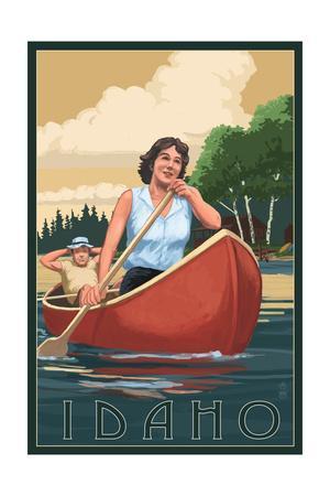 Idaho - Canoers on Lake-Lantern Press-Framed Art Print