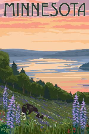 Minnesota - Lake and Bear Family-Lantern Press-Framed Art Print