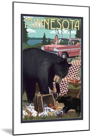 Minnesota - Bear and Picnic Scene-Lantern Press-Mounted Art Print