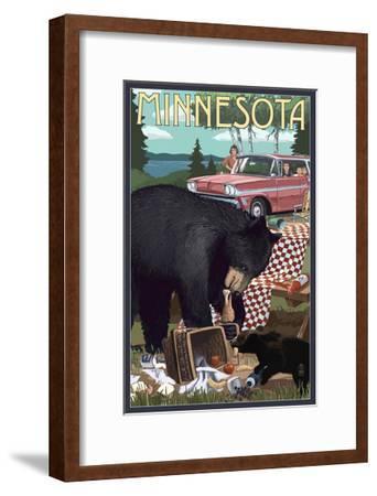 Minnesota - Bear and Picnic Scene-Lantern Press-Framed Art Print