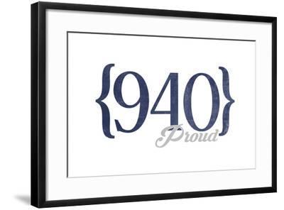 Wichita Falls, Texas - 940 Area Code (Blue)-Lantern Press-Framed Art Print