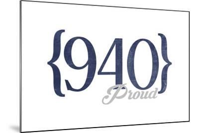 Wichita Falls, Texas - 940 Area Code (Blue)-Lantern Press-Mounted Art Print