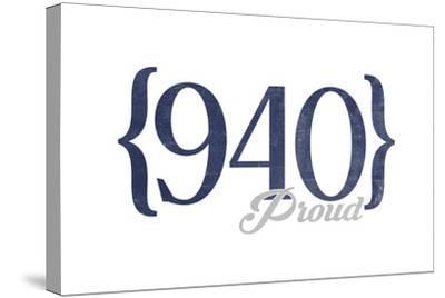 Wichita Falls, Texas - 940 Area Code (Blue)-Lantern Press-Stretched Canvas Print