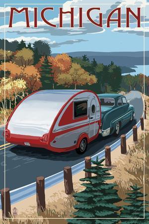 Michigan - Retro Camper on Road-Lantern Press-Framed Art Print