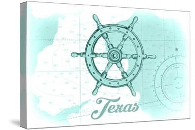 Texas - Ship Wheel - Teal - Coastal Icon-Lantern Press-Stretched Canvas Print