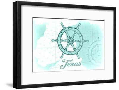 Texas - Ship Wheel - Teal - Coastal Icon-Lantern Press-Framed Art Print