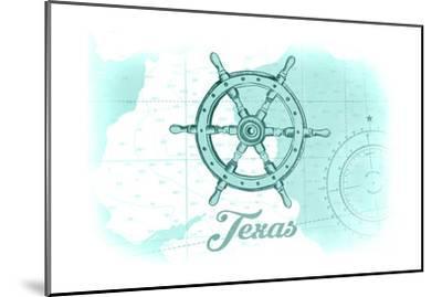 Texas - Ship Wheel - Teal - Coastal Icon-Lantern Press-Mounted Art Print