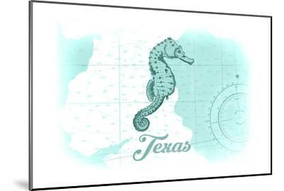 Texas - Seahorse - Teal - Coastal Icon-Lantern Press-Mounted Art Print