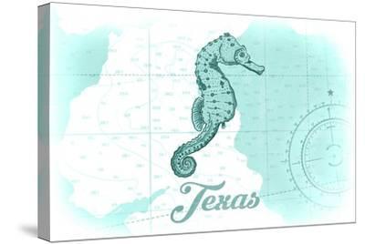 Texas - Seahorse - Teal - Coastal Icon-Lantern Press-Stretched Canvas Print