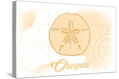 Oregon - Sand Dollar - Yellow - Coastal Icon-Lantern Press-Stretched Canvas Print
