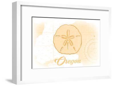 Oregon - Sand Dollar - Yellow - Coastal Icon-Lantern Press-Framed Art Print
