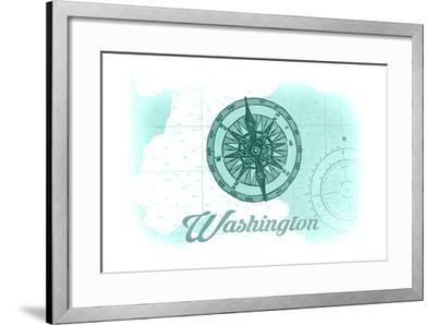 Washington - Compass - Teal - Coastal Icon-Lantern Press-Framed Art Print