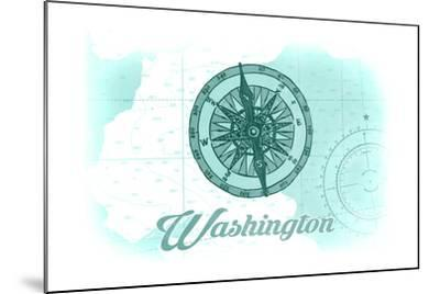 Washington - Compass - Teal - Coastal Icon-Lantern Press-Mounted Art Print