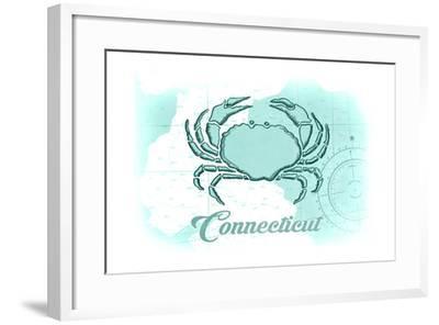 Connecticut - Crab - Teal - Coastal Icon-Lantern Press-Framed Art Print