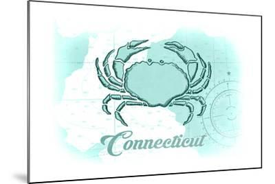 Connecticut - Crab - Teal - Coastal Icon-Lantern Press-Mounted Art Print