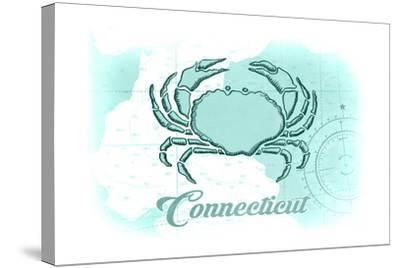 Connecticut - Crab - Teal - Coastal Icon-Lantern Press-Stretched Canvas Print