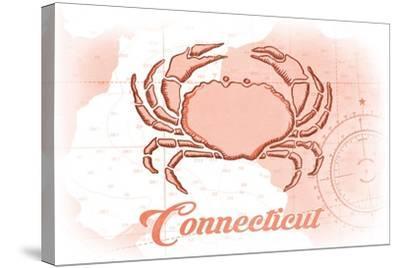 Connecticut - Crab - Coral - Coastal Icon-Lantern Press-Stretched Canvas Print