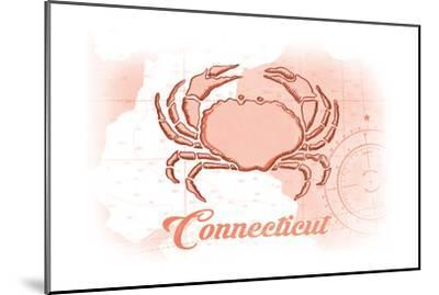 Connecticut - Crab - Coral - Coastal Icon-Lantern Press-Mounted Art Print