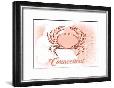Connecticut - Crab - Coral - Coastal Icon-Lantern Press-Framed Art Print