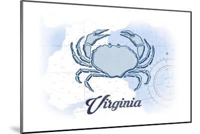 Virginia - Crab - Blue - Coastal Icon-Lantern Press-Mounted Art Print