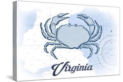 Virginia - Crab - Blue - Coastal Icon-Lantern Press-Stretched Canvas Print