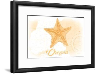 Oregon - Starfish - Yellow - Coastal Icon-Lantern Press-Framed Art Print