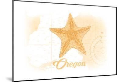 Oregon - Starfish - Yellow - Coastal Icon-Lantern Press-Mounted Art Print