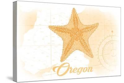 Oregon - Starfish - Yellow - Coastal Icon-Lantern Press-Stretched Canvas Print