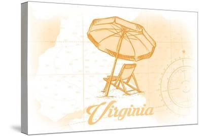 Virginia - Beach Chair and Umbrella - Yellow - Coastal Icon-Lantern Press-Stretched Canvas Print