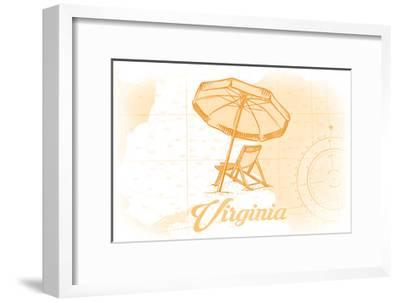 Virginia - Beach Chair and Umbrella - Yellow - Coastal Icon-Lantern Press-Framed Art Print